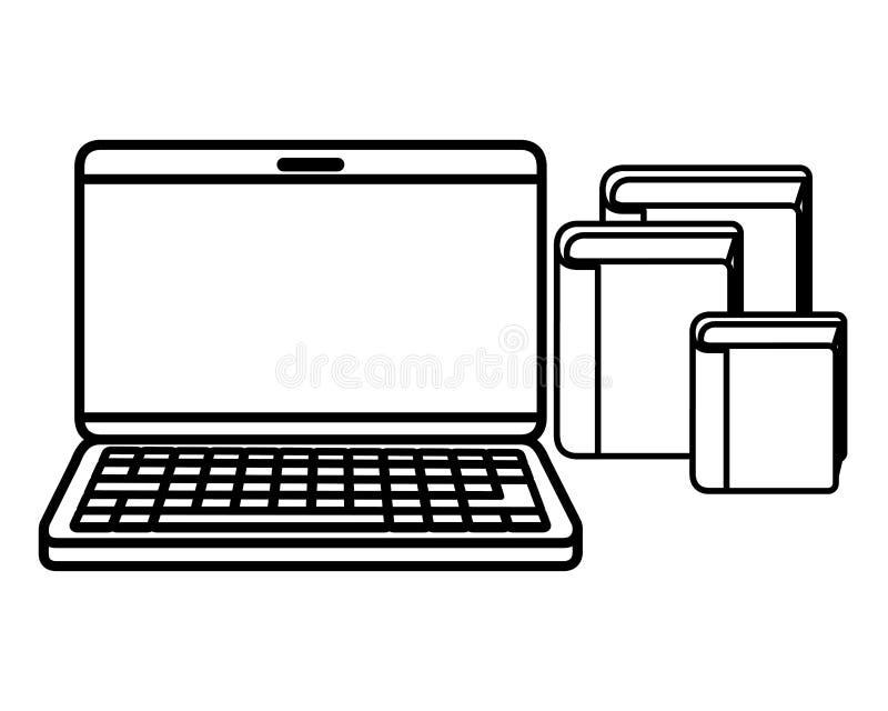 Ordenador portátil con el icono de los libros de la biblioteca libre illustration