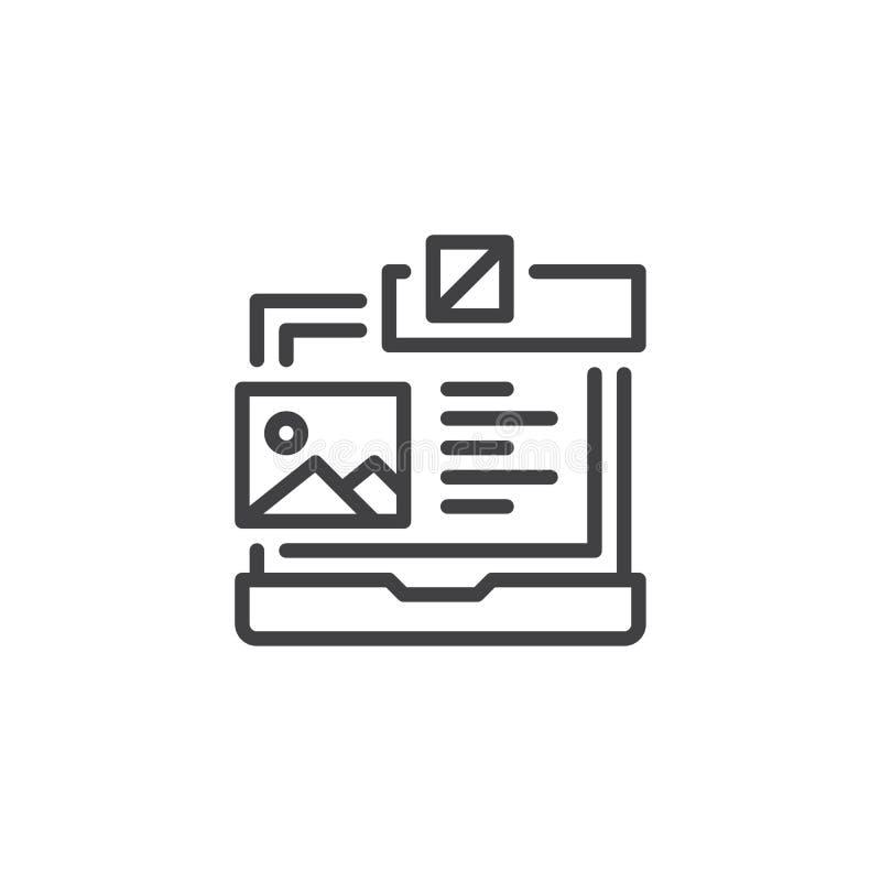 Ordenador portátil con el icono del esquema del planeamiento del diseño web stock de ilustración