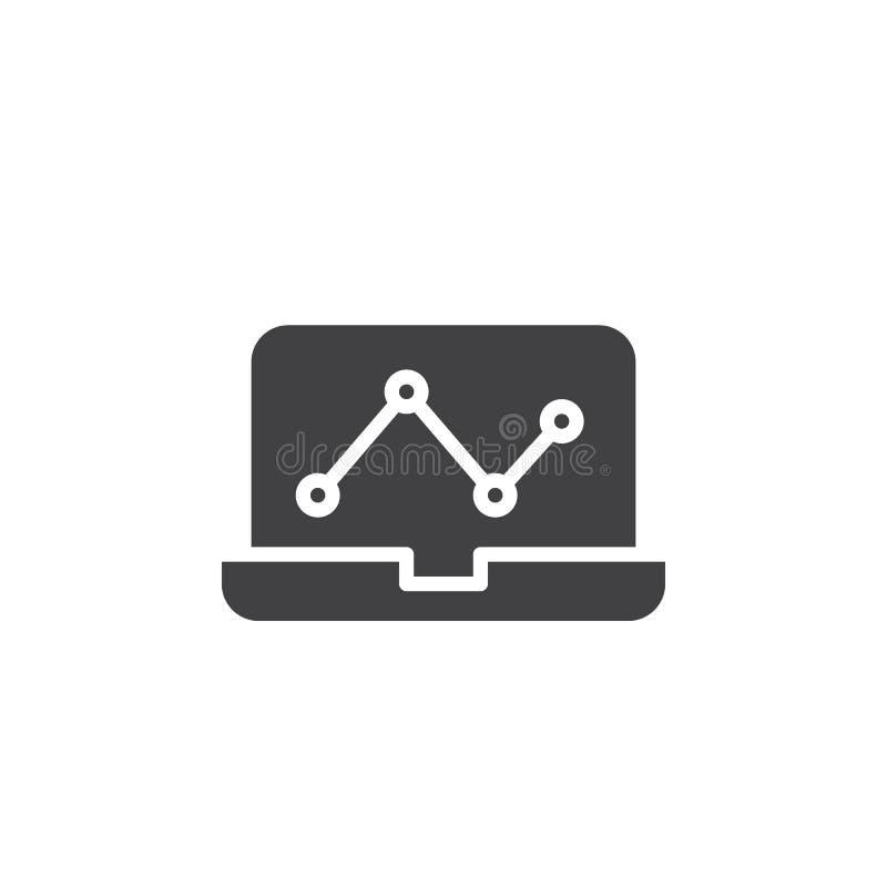 Ordenador portátil con el icono del vector del gráfico del analytics libre illustration
