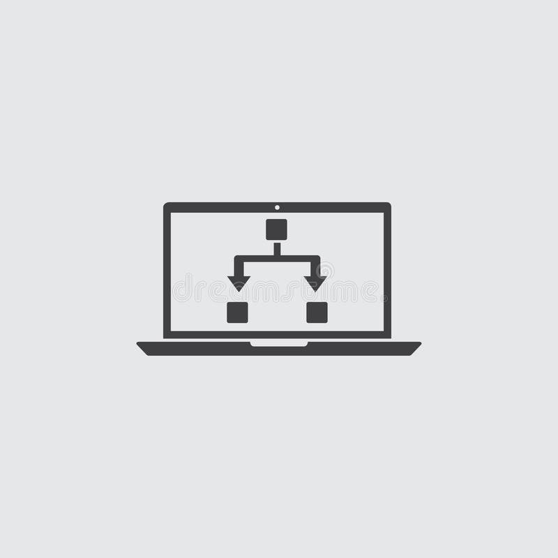 Ordenador portátil con el icono editable en un diseño plano en color negro Ilustración EPS10 del vector ilustración del vector