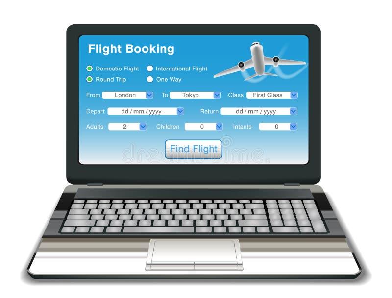 Ordenador portátil con el interfaz en línea de la reservación del vuelo libre illustration