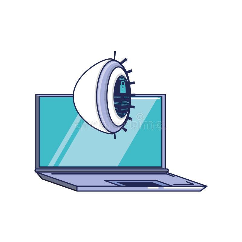 Ordenador portátil con el ojo cibernético de la seguridad ilustración del vector