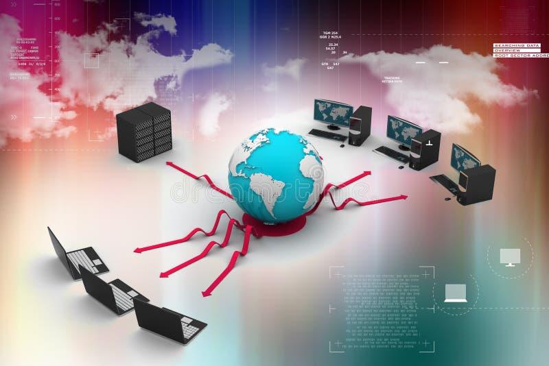 Ordenador portátil con el servidor y el globo grandes imagen 3d libre illustration