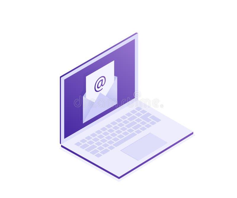Ordenador portátil con el sobre en la pantalla Email, márketing del correo electrónico, conceptos de la publicidad de Internet Ej ilustración del vector