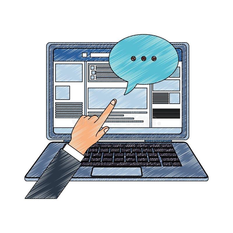Ordenador portátil con garabato social del perfil de la red libre illustration