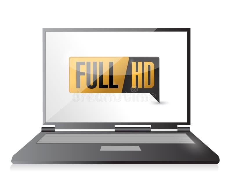 Ordenador portátil con HD lleno. Alto botón de la definición. libre illustration
