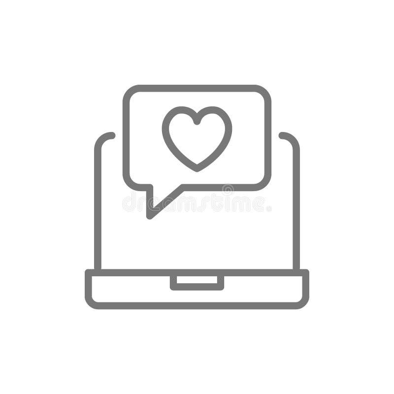 Ordenador port?til con la burbuja del coraz?n, charla del amor, como mensaje, l?nea icono de la retroalimentaci?n positiva ilustración del vector