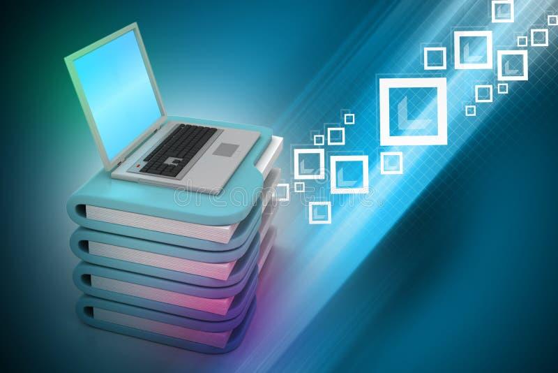 Ordenador portátil con la carpeta de archivos foto de archivo
