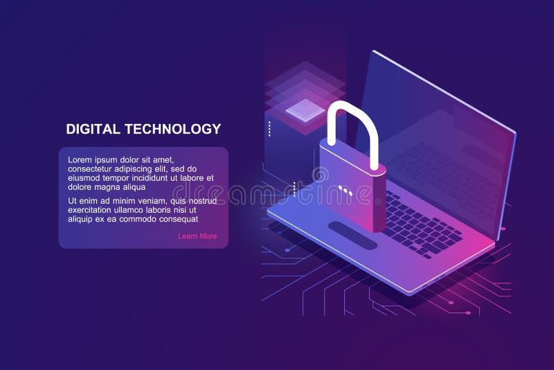 Ordenador portátil con la cerradura, icono isométrico de la seguridad informática, protección de datos, seguridad en Internet, in ilustración del vector