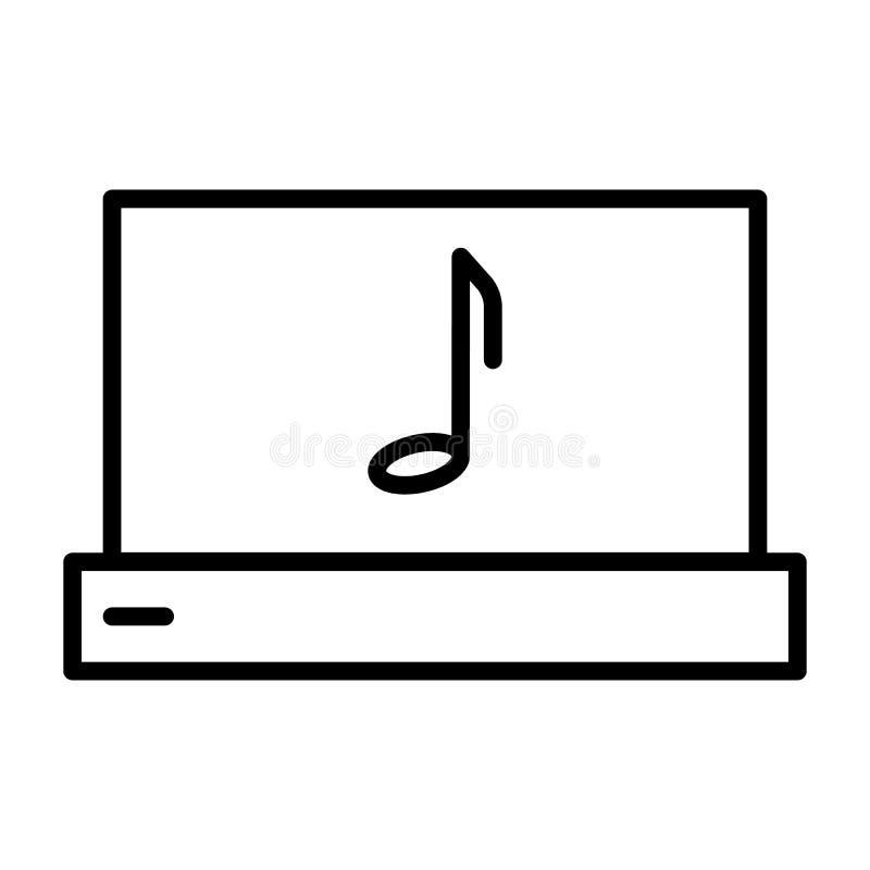 Ordenador portátil con la línea fina icono de la nota de la música Pictograma del vector stock de ilustración