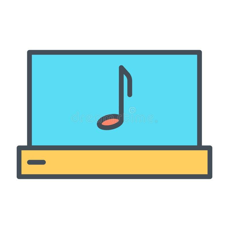 Ordenador portátil con la línea fina icono de la nota de la música Pictograma del vector ilustración del vector