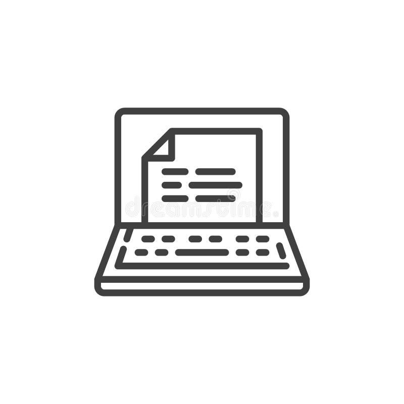 Ordenador portátil con la línea icono del archivo de texto ilustración del vector