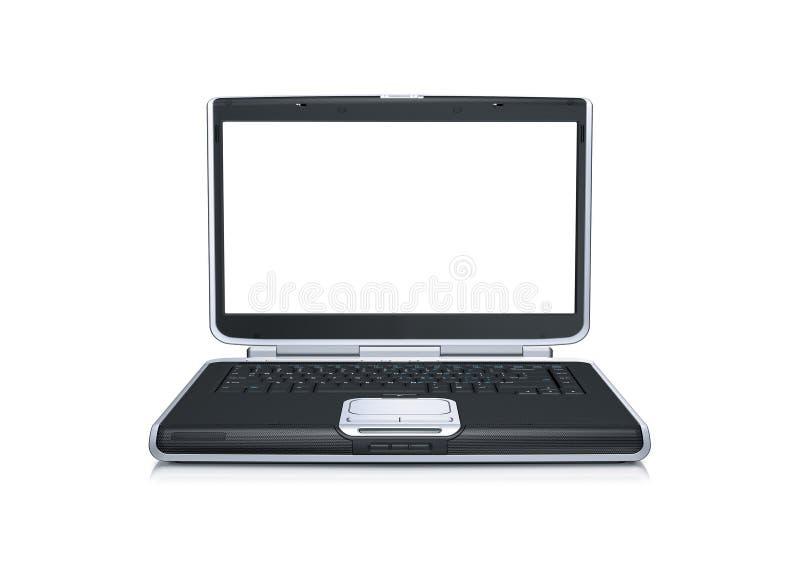 Ordenador portátil con la pantalla ancha en blanco foto de archivo