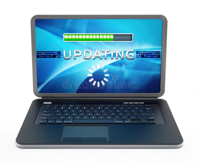 Ordenador portátil con la pantalla de la actualización de software ilustraci?n 3D stock de ilustración
