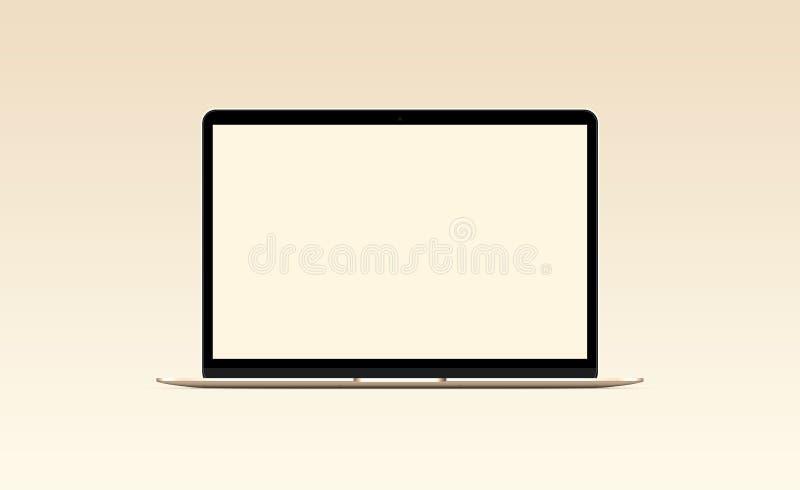 Ordenador portátil con la pantalla de ordenador en blanco Maqueta de la vista delantera imágenes de archivo libres de regalías