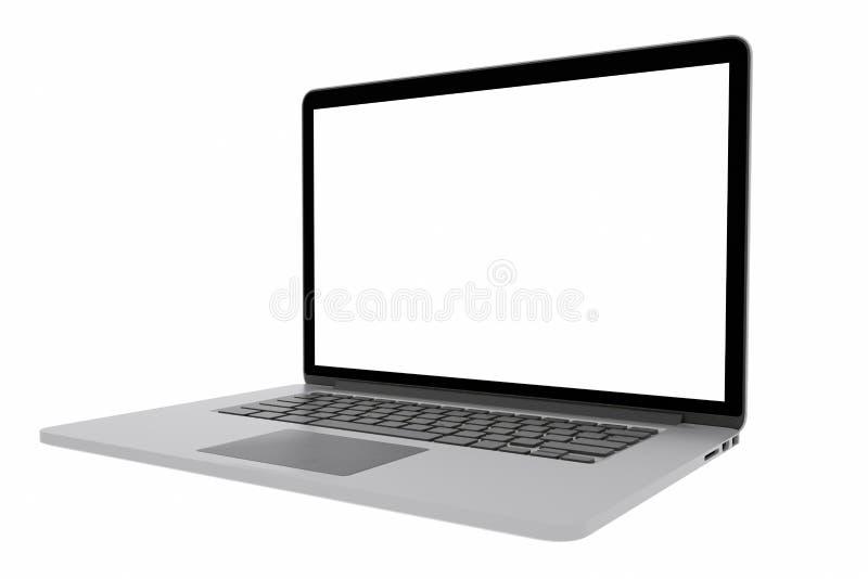 Ordenador portátil con la pantalla en blanco aislada en el fondo blanco, representación 3d stock de ilustración