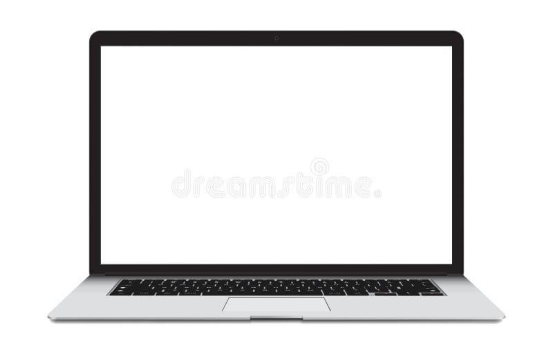 Ordenador portátil con la pantalla en blanco aislada en blanco ilustración del vector