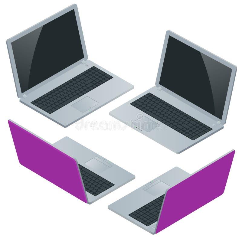 Ordenador portátil con la pantalla en blanco aislada en el fondo blanco Laptop stock de ilustración