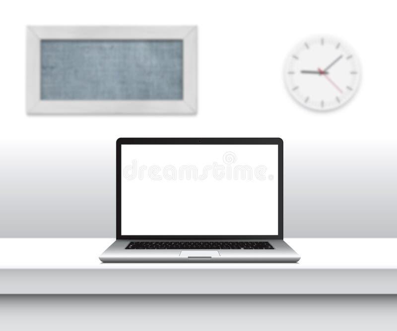 Ordenador portátil con la pantalla en blanco en el escritorio en interior minimalistic de la oficina ilustración del vector
