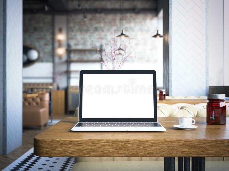 Ordenador portátil con la pantalla en blanco en la tabla de madera representación 3d stock de ilustración