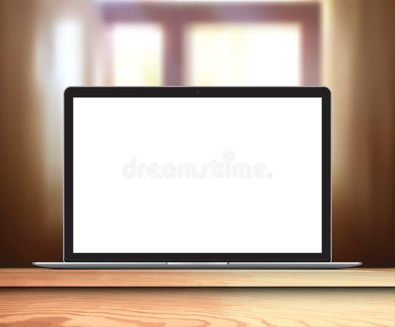 Ordenador portátil con la pantalla en blanco en ventana de la tabla en el fondo - ejemplo realista del vector libre illustration