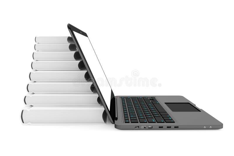 Ordenador portátil con la pila de libros fotografía de archivo