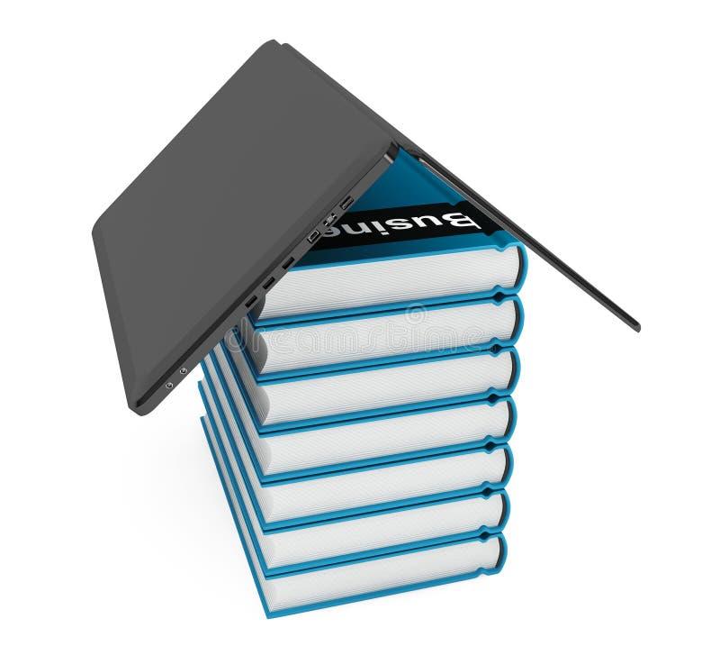 Ordenador portátil con la pila de libros ilustración del vector
