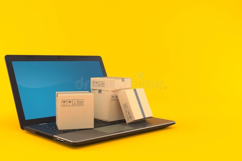 Ordenador portátil con la pila de paquetes ilustración del vector