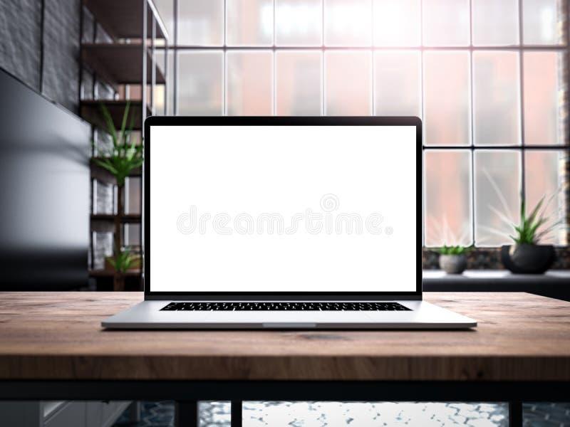 Ordenador portátil con la plantilla de la maqueta de la pantalla en blanco en la tabla en viejo interior industrial del desván de fotografía de archivo libre de regalías