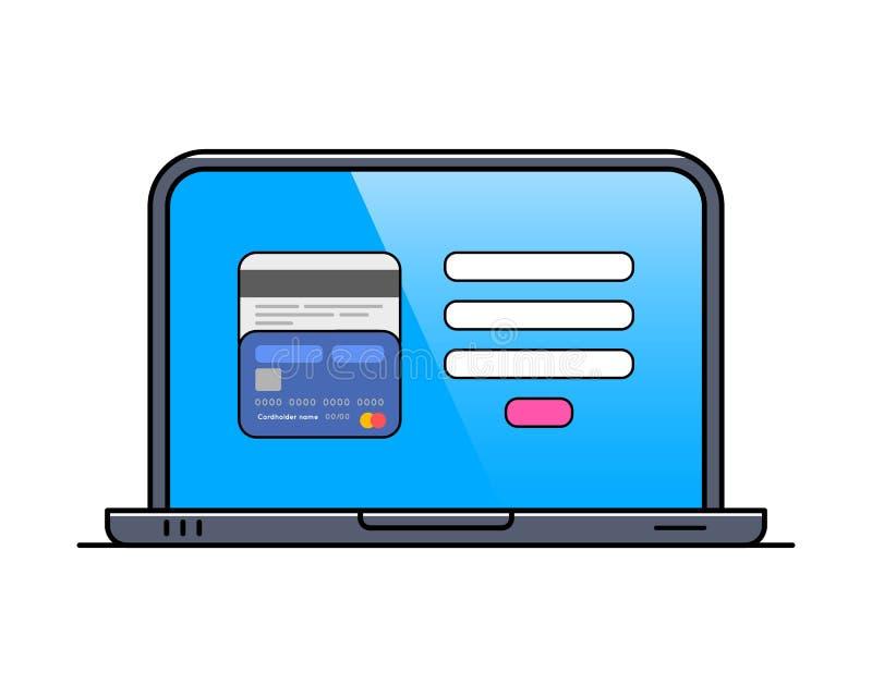 Ordenador portátil con la tarjeta de crédito en la línea fina icono de la pantalla ilustración del vector