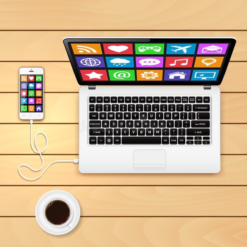 Ordenador portátil con la taza de café y de smartphone en la tabla de madera stock de ilustración