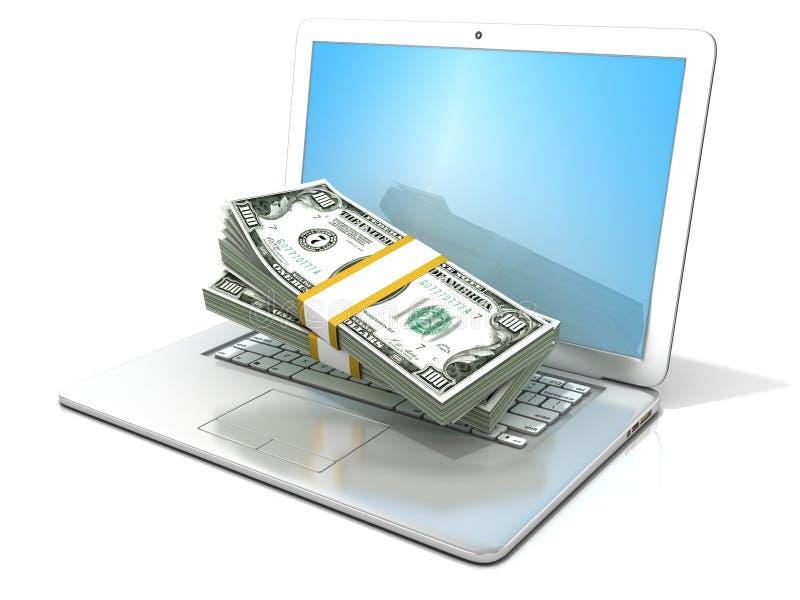 Ordenador portátil con las pilas de dólares de los centenares Concepto de negocio en línea - ganancia, actividades bancarias y co libre illustration
