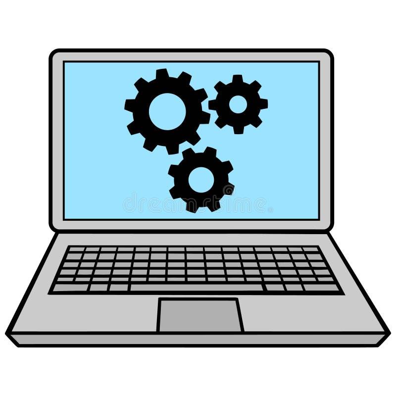 Ordenador portátil con los engranajes ilustración del vector