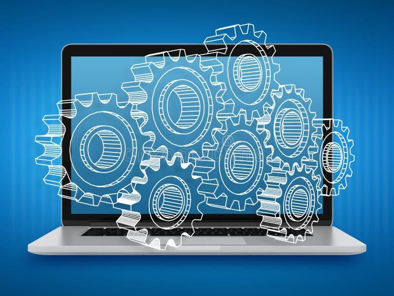 Ordenador portátil con los engranajes Reparación y mantenimiento de ordenadores Trabajo en equipo ilustración del vector