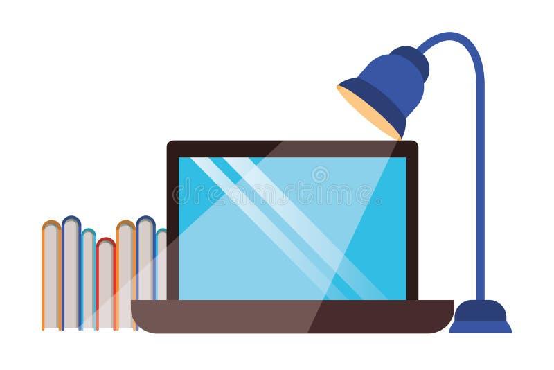 Ordenador portátil con los libros y la lámpara de la biblioteca ilustración del vector