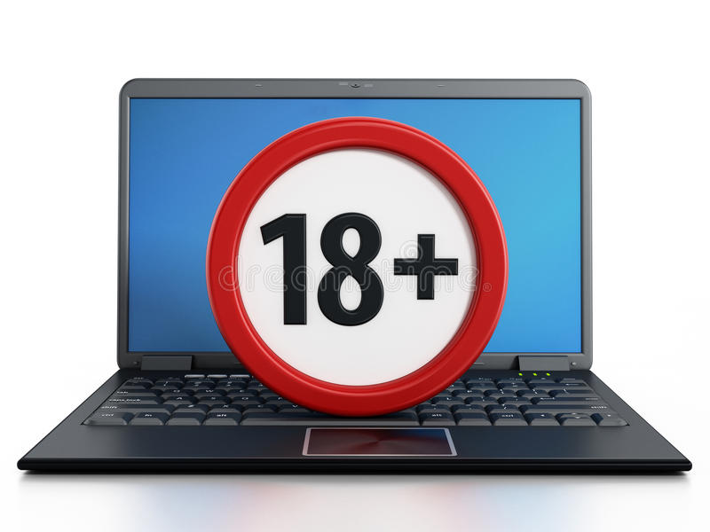 Ordenador portátil con símbolo prohibido 18 inferiores stock de ilustración