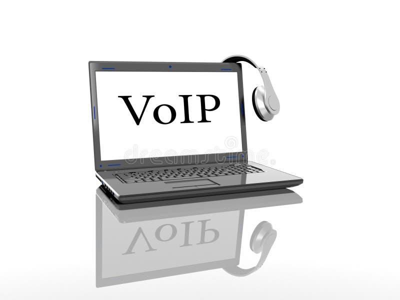 Ordenador portátil con una inscripción en la pantalla del VoIP y auriculares que un fondo blanco 3d rinde stock de ilustración