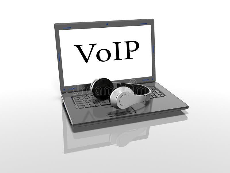 Ordenador portátil con una inscripción en la pantalla del VoIP y auriculares que un fondo blanco 3d rinde ilustración del vector