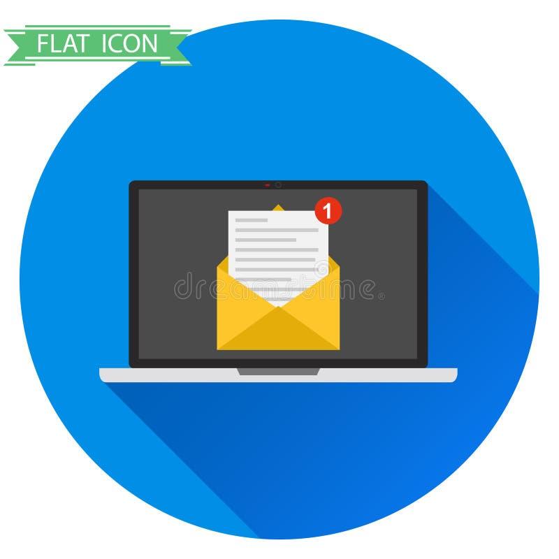 Ordenador portátil con una letra stock de ilustración