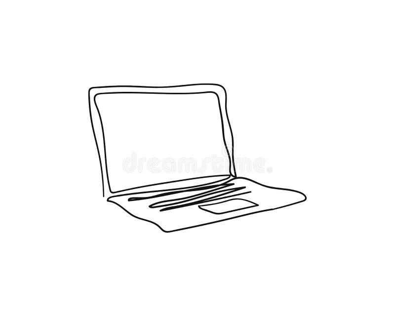 Ordenador portátil con una sola línea continua dibujo del arte stock de ilustración
