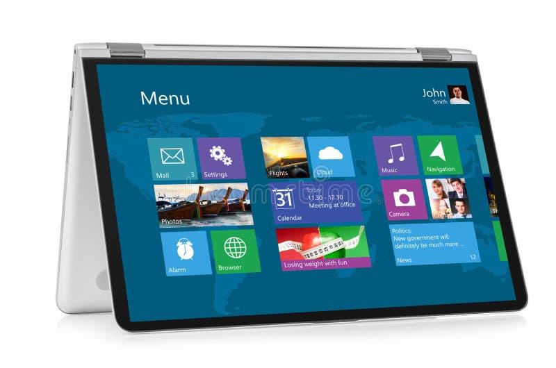 Ordenador portátil convertible con el sistema operativo fotografía de archivo libre de regalías