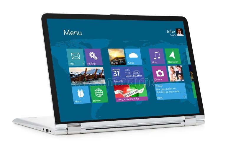 Ordenador portátil convertible con el sistema operativo foto de archivo libre de regalías