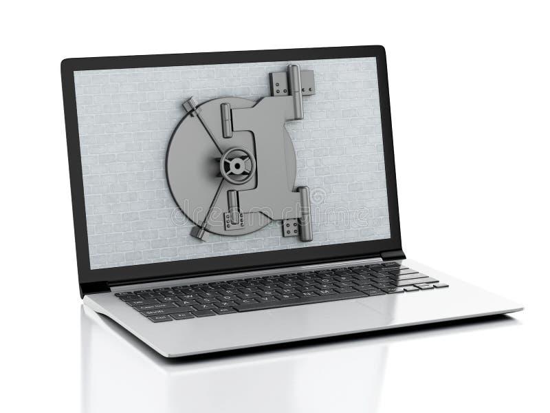 ordenador portátil 3d con la pared de ladrillo y la puerta segura libre illustration