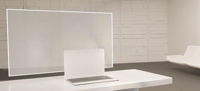 Ordenador portátil 3d-illustration de la pantalla de ordenador y del ordenador libre illustration