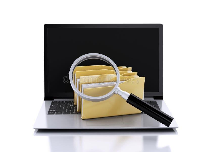 ordenador portátil 3d, lupa y ficheros informáticos ilustración del vector