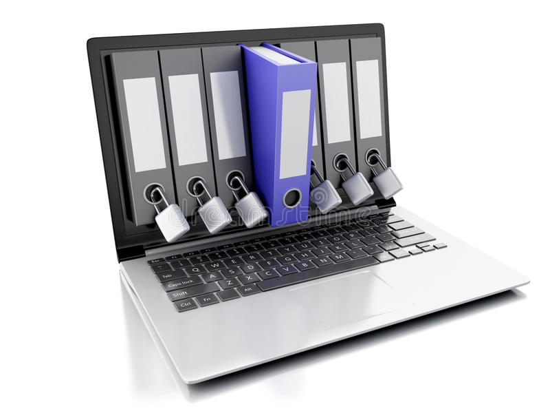 ordenador portátil 3d y carpeta del secreto Concepto de la seguridad de datos libre illustration