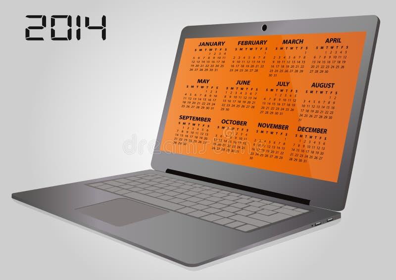 ordenador portátil de 2014 calendarios ilustración del vector