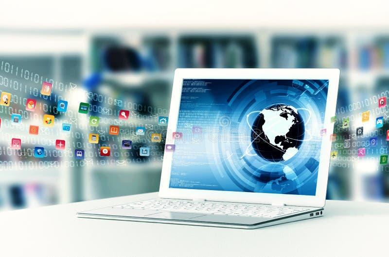 Ordenador portátil de Internet foto de archivo
