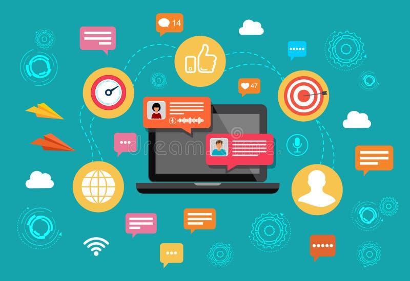 Ordenador portátil de la charla del nline del concepto con notificaciones de charla de la burbuja Mensajería de la gente en Inter stock de ilustración