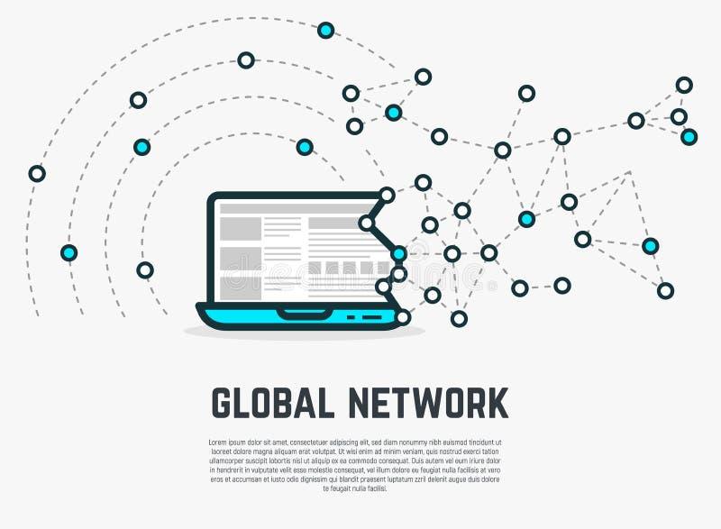 Ordenador portátil de la red del web ilustración del vector